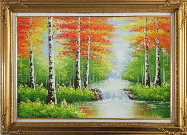 Framed Double Waterfalls In Red Autumn Forest Oil Painting Landscape Tree Naturalism Gold Wood Frame with Deco Corners 31 x 43 Inches