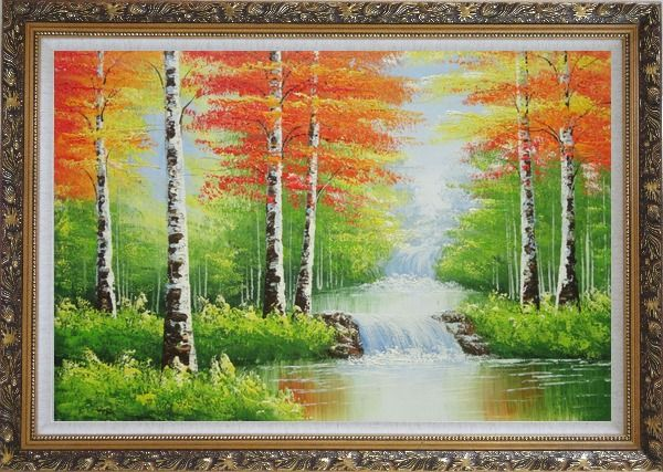 Framed Double Waterfalls In Red Autumn Forest Oil Painting Landscape Tree Naturalism Ornate Antique Dark Gold Wood Frame 30 x 42 Inches