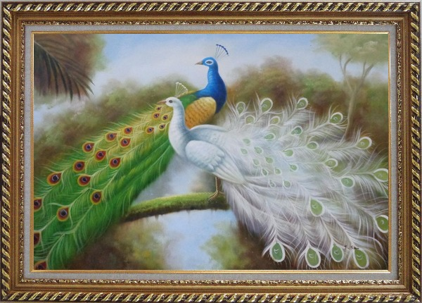 Framed Green and White Peacocks On Branch Oil Painting Animal Naturalism Exquisite Gold Wood Frame 30 x 42 Inches
