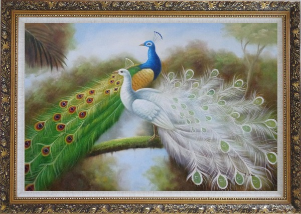 Framed Green and White Peacocks On Branch Oil Painting Animal Naturalism Ornate Antique Dark Gold Wood Frame 30 x 42 Inches
