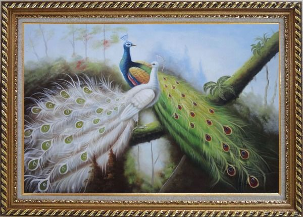 Framed Pair of Green And White Peacocks On Tree Oil Painting Animal Naturalism Exquisite Gold Wood Frame 30 x 42 Inches