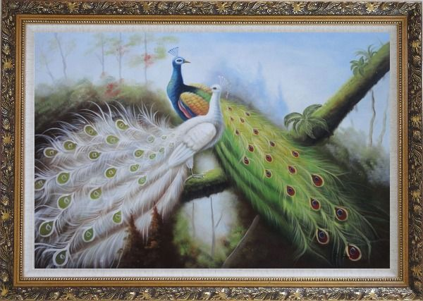 Framed Pair of Green And White Peacocks On Tree Oil Painting Animal Naturalism Ornate Antique Dark Gold Wood Frame 30 x 42 Inches