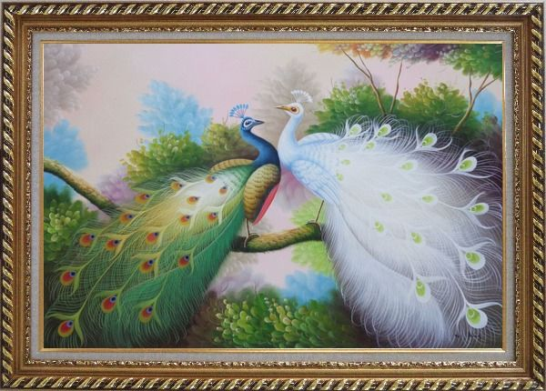 Framed Resting Blue and White Peacocks Oil Painting Animal Naturalism Exquisite Gold Wood Frame 30 x 42 Inches