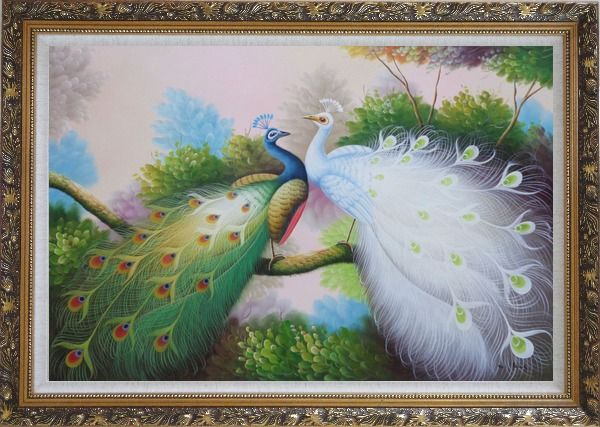 Framed Resting Blue and White Peacocks Oil Painting Animal Naturalism Ornate Antique Dark Gold Wood Frame 30 x 42 Inches