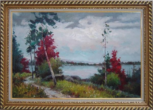 Framed Silence Under Overcast Sky Oil Painting Landscape Tree Impressionism Exquisite Gold Wood Frame 30 x 42 Inches