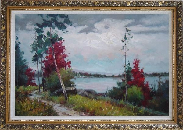 Framed Silence Under Overcast Sky Oil Painting Landscape Tree Impressionism Ornate Antique Dark Gold Wood Frame 30 x 42 Inches