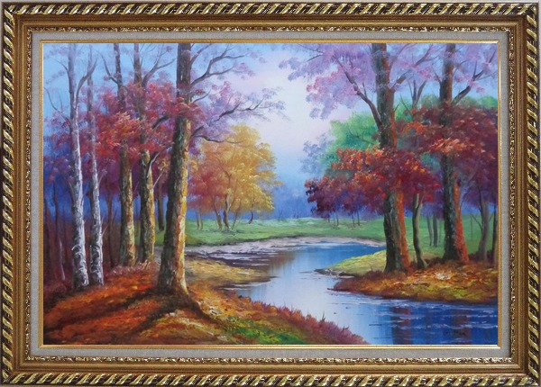 Framed Small Pond Red Autumn Oil Painting Landscape Tree Naturalism Exquisite Gold Wood Frame 30 x 42 Inches