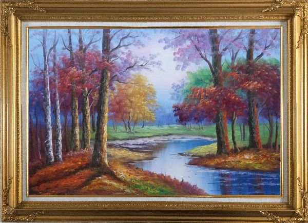 Framed Small Pond Red Autumn Oil Painting Landscape Tree Naturalism Gold Wood Frame with Deco Corners 31 x 43 Inches