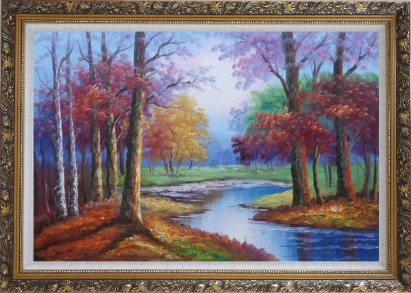 Framed Small Pond Red Autumn Oil Painting Landscape Tree Naturalism Ornate Antique Dark Gold Wood Frame 30 x 42 Inches