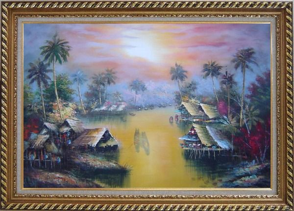 Framed Hawaii Water Village Thatching Houses at Sunset Oil Painting Naturalism Exquisite Gold Wood Frame 30 x 42 Inches