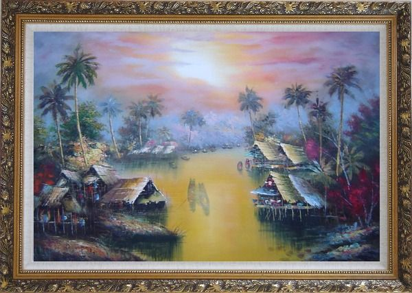 Framed Hawaii Water Village Thatching Houses at Sunset Oil Painting Naturalism Ornate Antique Dark Gold Wood Frame 30 x 42 Inches