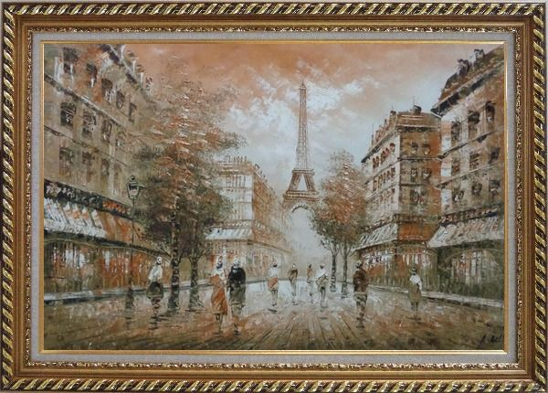 Framed People, Eiffel Tower on the Dusk Oil Painting Cityscape France Impressionism Exquisite Gold Wood Frame 30 x 42 Inches