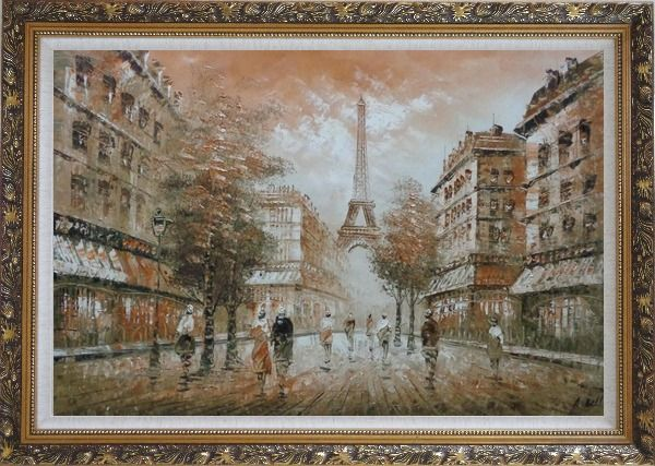 Framed People, Eiffel Tower on the Dusk Oil Painting Cityscape France Impressionism Ornate Antique Dark Gold Wood Frame 30 x 42 Inches