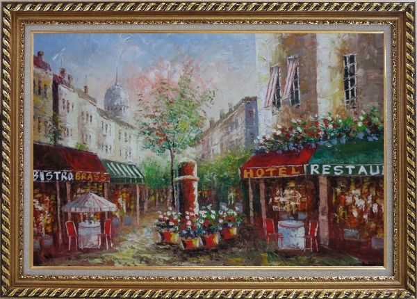 Framed Colorful Cafe and Street Scene in Paris Oil Painting Cityscape France Impressionism Exquisite Gold Wood Frame 30 x 42 Inches