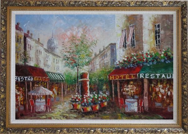 Framed Colorful Cafe and Street Scene in Paris Oil Painting Cityscape France Impressionism Ornate Antique Dark Gold Wood Frame 30 x 42 Inches