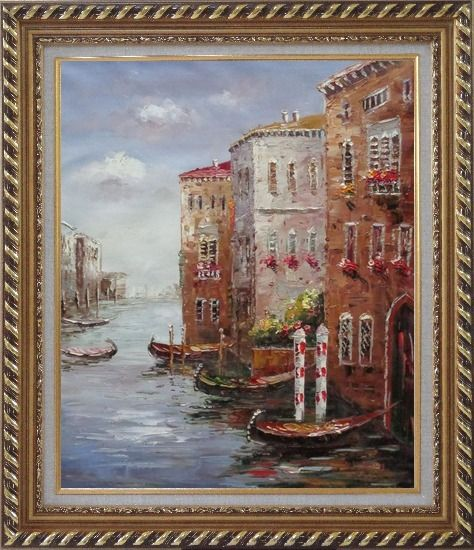 Framed Boats Parking At Tranquil Street of Venice Oil Painting Italy Impressionism Exquisite Gold Wood Frame 30 x 26 Inches