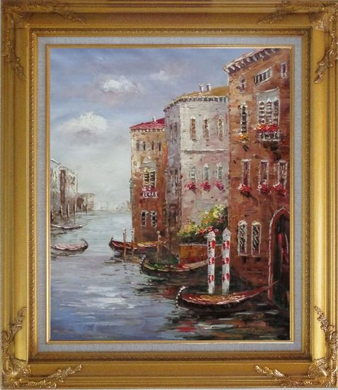 Framed Boats Parking At Tranquil Street of Venice Oil Painting Italy Impressionism Gold Wood Frame with Deco Corners 31 x 27 Inches