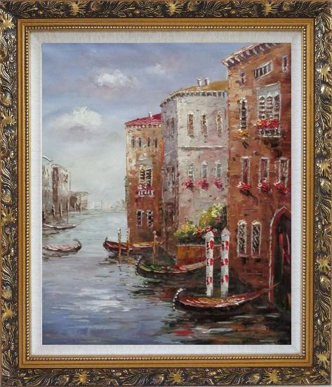 Framed Boats Parking At Tranquil Street of Venice Oil Painting Italy Impressionism Ornate Antique Dark Gold Wood Frame 30 x 26 Inches