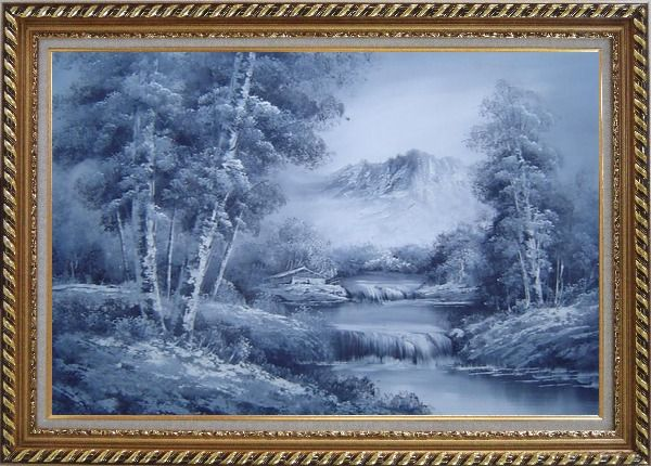 Framed Cascade Under Snow Mountain in Black and White Oil Painting Landscape Waterfall Naturalism Exquisite Gold Wood Frame 30 x 42 Inches