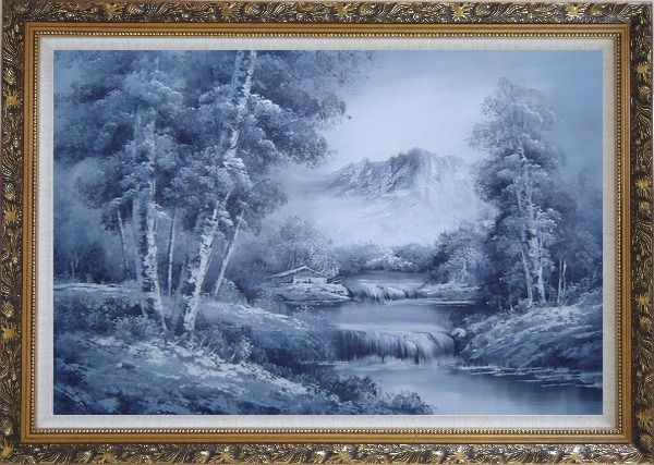 Framed Cascade Under Snow Mountain in Black and White Oil Painting Landscape Waterfall Naturalism Ornate Antique Dark Gold Wood Frame 30 x 42 Inches