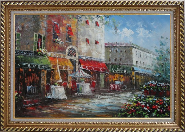 Framed Bistro on Paris Street Oil Painting Cityscape France Impressionism Exquisite Gold Wood Frame 30 x 42 Inches