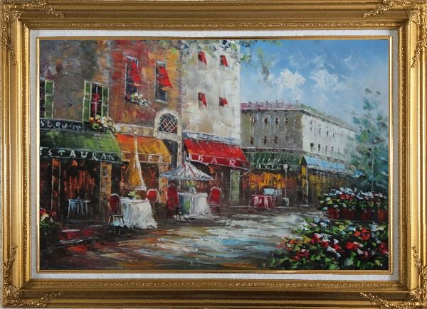 Framed Bistro on Paris Street Oil Painting Cityscape France Impressionism Gold Wood Frame with Deco Corners 31 x 43 Inches