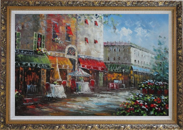 Framed Bistro on Paris Street Oil Painting Cityscape France Impressionism Ornate Antique Dark Gold Wood Frame 30 x 42 Inches