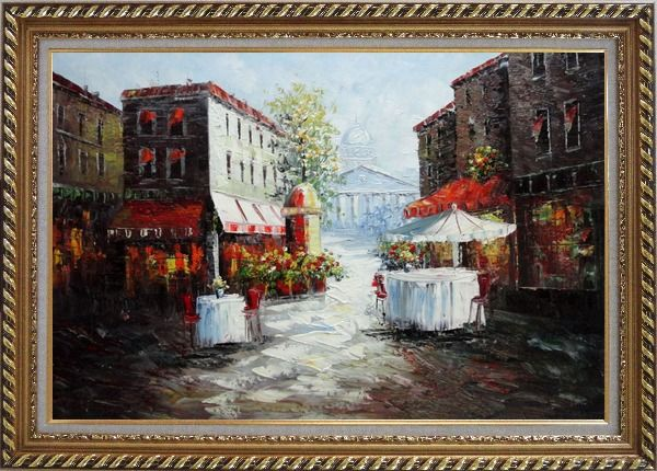 Framed Outdoor Street Cafe on Paris Street Oil Painting Cityscape France Impressionism Exquisite Gold Wood Frame 30 x 42 Inches