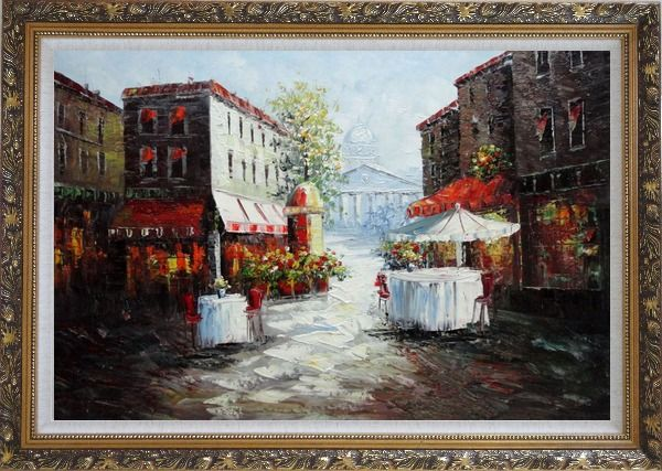 Framed Outdoor Street Cafe on Paris Street Oil Painting Cityscape France Impressionism Ornate Antique Dark Gold Wood Frame 30 x 42 Inches