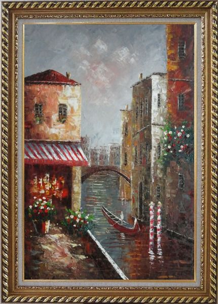 Framed Venice River Italy Street Cafe Canal Boat Oil Painting Impressionism Exquisite Gold Wood Frame 42 x 30 Inches