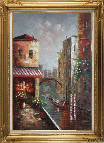 Framed Venice River Italy Street Cafe Canal Boat Oil Painting Impressionism Gold Wood Frame with Deco Corners 43 x 31 Inches