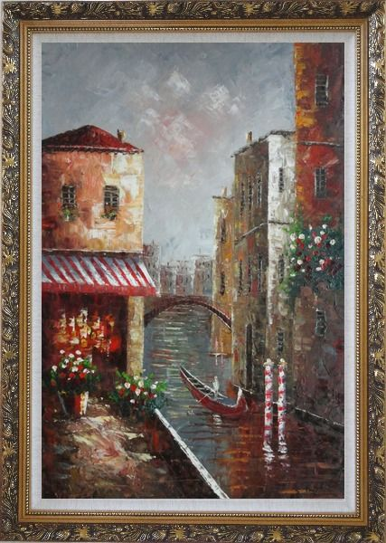 Framed Venice River Italy Street Cafe Canal Boat Oil Painting Impressionism Ornate Antique Dark Gold Wood Frame 42 x 30 Inches