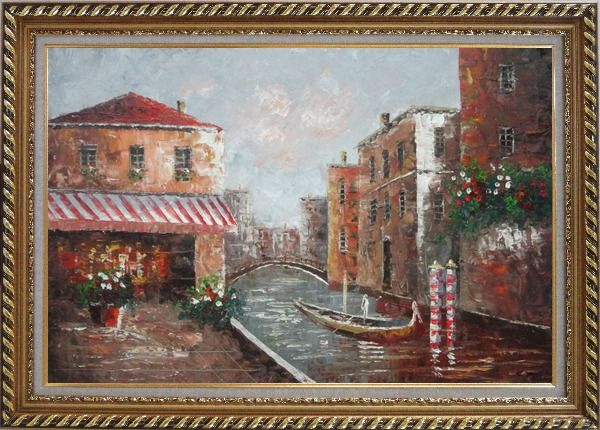 Framed Cafe At Venice Canal with Bridge and Gondolas Oil Painting Impressionism Exquisite Gold Wood Frame 30 x 42 Inches