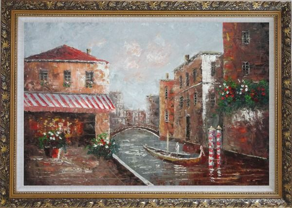 Framed Cafe At Venice Canal with Bridge and Gondolas Oil Painting Impressionism Ornate Antique Dark Gold Wood Frame 30 x 42 Inches
