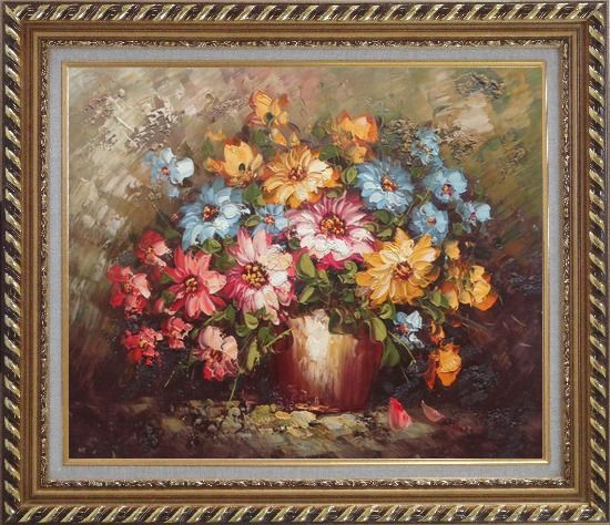 Framed Knife Painted Still Life Standard Mum Flowers Oil Painting Bouquet Impressionism Exquisite Gold Wood Frame 26 x 30 Inches