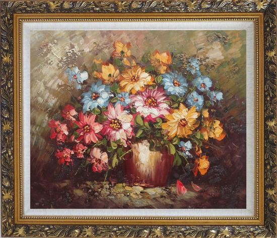 Framed Knife Painted Still Life Standard Mum Flowers Oil Painting Bouquet Impressionism Ornate Antique Dark Gold Wood Frame 26 x 30 Inches