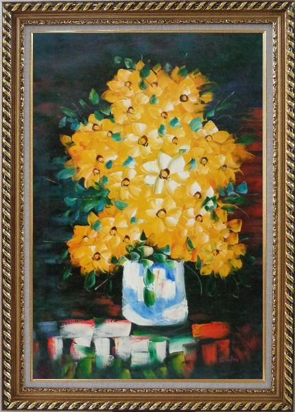 Framed Yellow Daisy Flowers in in Vase Oil Painting Still Life Bouquet Impressionism Exquisite Gold Wood Frame 42 x 30 Inches