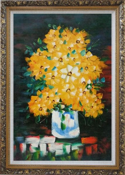 Framed Yellow Daisy Flowers in in Vase Oil Painting Still Life Bouquet Impressionism Ornate Antique Dark Gold Wood Frame 42 x 30 Inches
