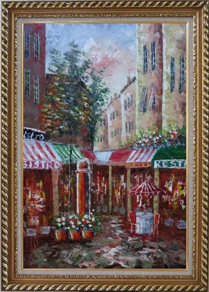 Framed Traditional Paris Street Filled with Cafe and Hotel Oil Painting Cityscape France Impressionism Exquisite Gold Wood Frame 42 x 30 Inches