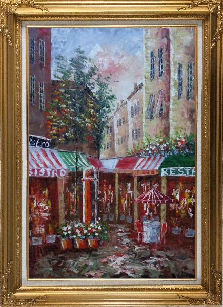 Framed Traditional Paris Street Filled with Cafe and Hotel Oil Painting Cityscape France Impressionism Gold Wood Frame with Deco Corners 43 x 31 Inches