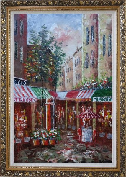 Framed Traditional Paris Street Filled with Cafe and Hotel Oil Painting Cityscape France Impressionism Ornate Antique Dark Gold Wood Frame 42 x 30 Inches