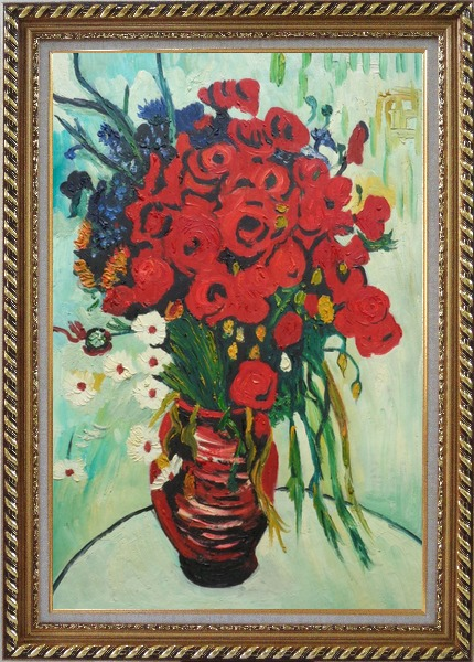 Framed Vase with Daisies and Poppies, Van Gogh Reproduction Oil Painting Flower Still Life Post Impressionism Exquisite Gold Wood Frame 42 x 30 Inches