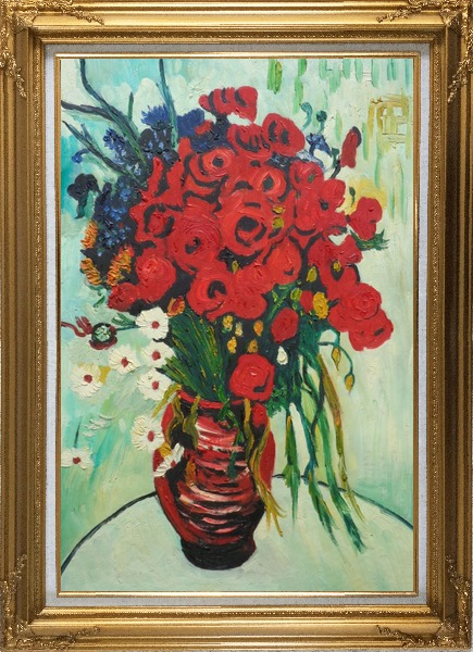 Framed Vase with Daisies and Poppies, Van Gogh Reproduction Oil Painting Flower Still Life Post Impressionism Gold Wood Frame with Deco Corners 43 x 31 Inches