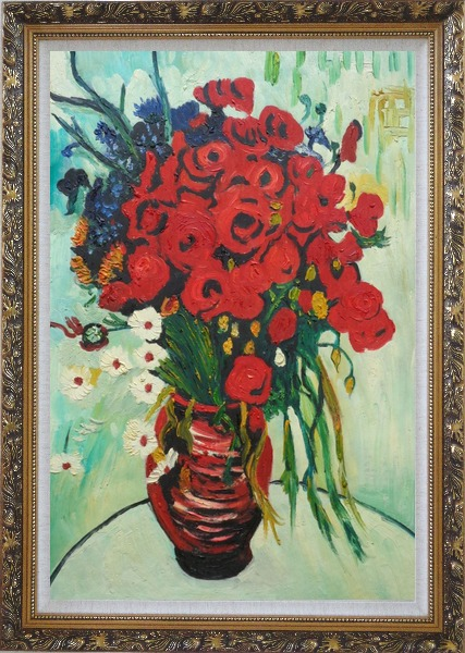 Framed Vase with Daisies and Poppies, Van Gogh Reproduction Oil Painting Flower Still Life Post Impressionism Ornate Antique Dark Gold Wood Frame 42 x 30 Inches