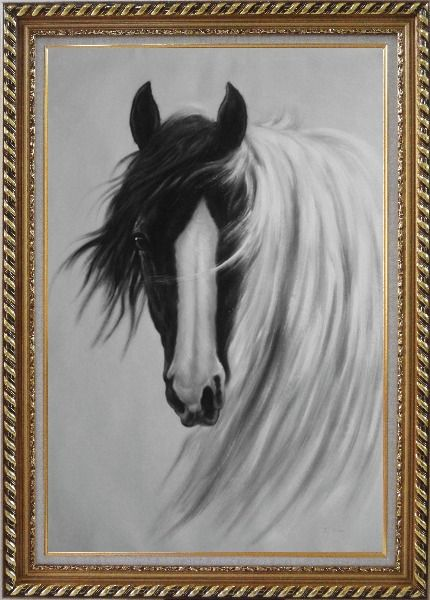 Framed Gorgeous Black White Horse With Long and Flowing White Manes Oil Painting Animal Naturalism Exquisite Gold Wood Frame 42 x 30 Inches