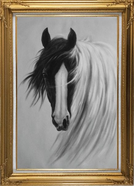 Framed Gorgeous Black White Horse With Long and Flowing White Manes Oil Painting Animal Naturalism Gold Wood Frame with Deco Corners 43 x 31 Inches