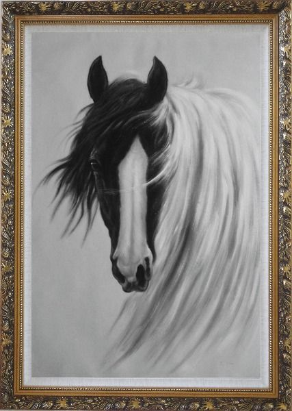 Framed Gorgeous Black White Horse With Long and Flowing White Manes Oil Painting Animal Naturalism Ornate Antique Dark Gold Wood Frame 42 x 30 Inches