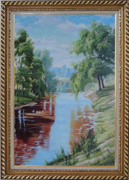 Framed Group of White Ducks Enjoy time in A quite Clear Spring Creek Oil Painting Landscape River Animal Bird Classic Exquisite Gold Wood Frame 42 x 30 Inches