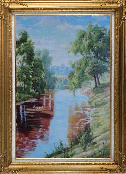 Framed Group of White Ducks Enjoy time in A quite Clear Spring Creek Oil Painting Landscape River Animal Bird Classic Gold Wood Frame with Deco Corners 43 x 31 Inches