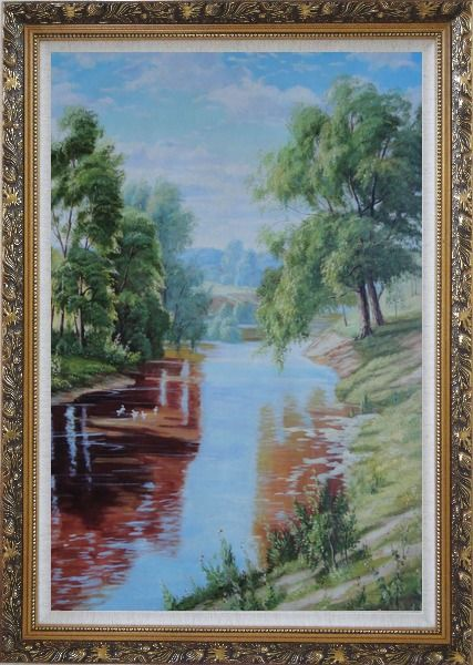 Framed Group of White Ducks Enjoy time in A quite Clear Spring Creek Oil Painting Landscape River Animal Bird Classic Ornate Antique Dark Gold Wood Frame 42 x 30 Inches